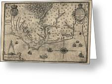 Antique Map Of North Carolina And Virginia By John White - 1590 Greeting Card