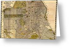 Antique Map Of San Francisco 1932 Greeting Card