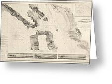 Antique Map Of San Francisco - Usgs Coast Survey Map - 1859 Greeting Card