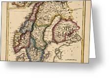 Antique Map Of Scandinavia By Fielding Lucas - Circa 1817 Greeting Card