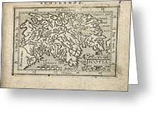Antique Map Of Scotland By Abraham Ortelius - 1603 Greeting Card by Blue Monocle