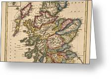 Antique Map Of Scotland By Fielding Lucas - Circa 1817 Greeting Card