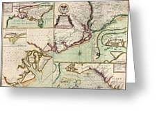 Antique Map Of South Carolina By Edward Crisp - Circa 1711 Greeting Card