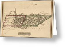 Antique Map Of Tennessee By Fielding Lucas - Circa 1817 Greeting Card