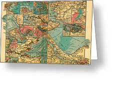 Antique Map Of The Baltic And North Sea Ports  Greeting Card