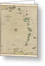 Antique Map Of The Caribbean - Lesser Antilles - By Mathew Richmond - 1789 Greeting Card