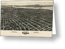 Antique Map Of Tulsa Oklahoma By Fowler And Kelly - 1918 Greeting Card