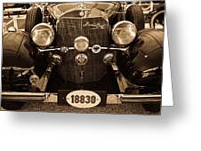 Antique Mercedes Benz In Sepia Greeting Card