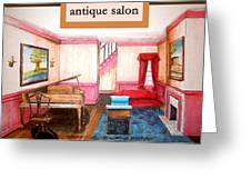 Antique Salon - Colonial Red And Blue Greeting Card