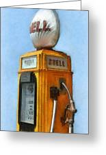 Antique Shell Gas Pump Greeting Card