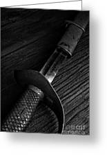 Antique Sword Black And White Greeting Card