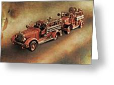 Antique Toy Fire Trucks Greeting Card