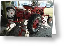Antique Tractor Hiding In The Shadows Greeting Card