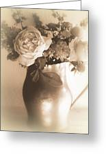 Antique Vase And Roses Greeting Card