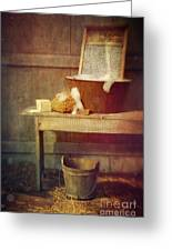 Antique Wash Tub With Soaps Greeting Card by Sandra Cunningham