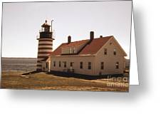 Antique West Quoddy Lighthouse Greeting Card