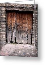 Antique Wood Door Damaged Greeting Card
