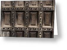 Antique Wooden Door Closeup Greeting Card