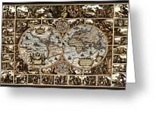 Antique World Map Circa 1670 II Greeting Card