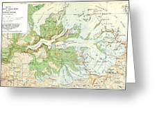Antique Yosemite National Park Map Greeting Card