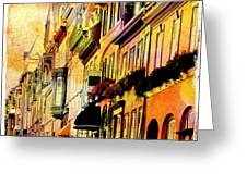 Antiqued Photograph Of Townhouses Greeting Card
