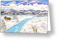 Antlers And Snow Greeting Card