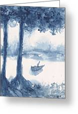 Antwerp Blue Landscape Watercolor Greeting Card