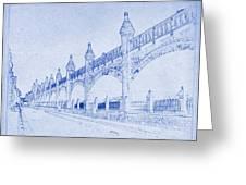 Antwerp Railway Bridge Blueprint Greeting Card
