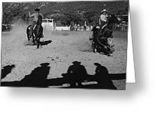 Apache Roping Cow Labor Day Rodeo White River Arizona 1969 Greeting Card
