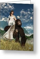 Ape And Girl Greeting Card