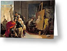 Apelles Painting The Portrait Of Campaspe Greeting Card