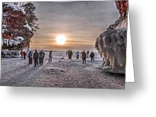 Apostle Islands Ice Cave Sunset Greeting Card