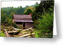 Appalachian Cabin With Fence Greeting Card