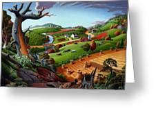 Appalachian Fall Thanksgiving Wheat Field Harvest Farm Landscape Painting - Rural Americana - Autumn Greeting Card
