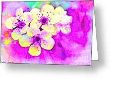 Apple Blossoms In Magenta -  Digital Paint Greeting Card