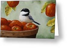 Apple Chickadee Greeting Card 1 Greeting Card