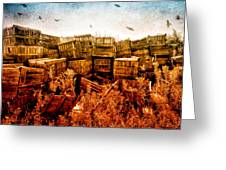 Apple Crates And Crows Greeting Card