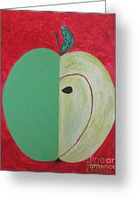 Apple In Two Greens 02 Greeting Card