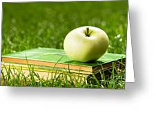 Apple On Pile Of Books On Grass Greeting Card