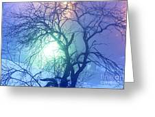 Apple Tree In Winter Fog Greeting Card