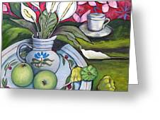 Apples And Lilies Greeting Card