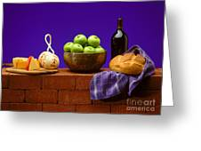 Apples Bread And Cheese Greeting Card