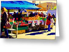 Apples Cortlands Lobos Honey Crisps Mcintosh Atwater Market Apple Fruit Stall Foodart Carole Spandau Greeting Card