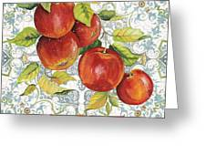 Apples On Damask Greeting Card