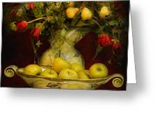 Apples Pears And Tulips Greeting Card