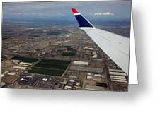 Approaching Phoenix Az Wing Tip View Greeting Card