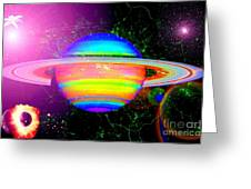 Approaching Saturn From The East Greeting Card