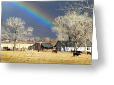 Approaching Storm At Cattle Ranch Greeting Card