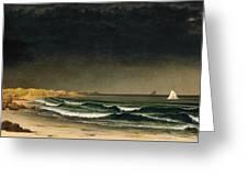 Approaching Storm. Beach Near Newport Greeting Card