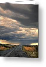 Approaching Storm On Country Road Greeting Card